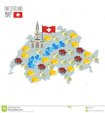 swiss map map of switzerland attraction of berne cathedral stock vector