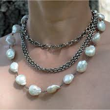 necklace making with pearl images Modern pearl long necklace jenne rayburn jpg