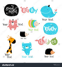 vector set stylized characters symbols whale stock vector