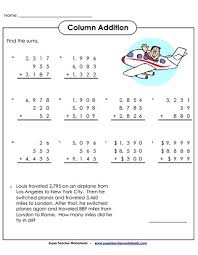 addition worksheets 4 and 5 digits