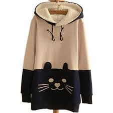 cute japanese mori kawaii cat face tail hoodies with