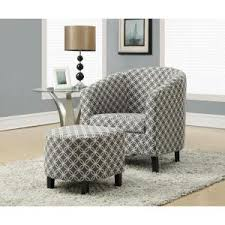Gray And White Accent Chair Monarch Specialties Grey Cotton Arm Chair With Ottoman I 8060