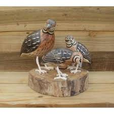 family wood wood carving of family of quail by archipelago d369 birds