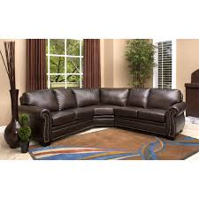 Brown Leather Sectional Sofas by Abbyson Living Ci N410 Brn Oxford Italian Leather Sectional Sofa