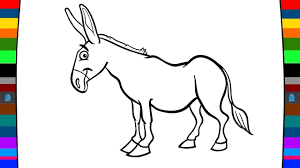 animal coloring pages how to draw a donkey learn animals for