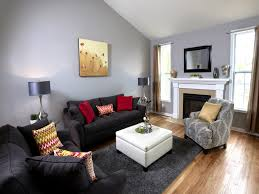 Livingroom Fireplace by Grey And Blue Living Room Small Lamps Red Sofa Cabinet Between