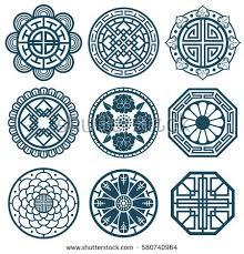 korean design traditional korean symbols vector korea pattern stock vector
