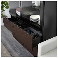 Ikea Besta Glass Doors by Bestå Storage Combination W Glass Doors Black Brown Valviken