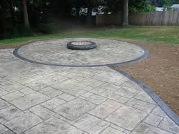 Backyard Stamped Concrete Patio Ideas Patio Stamped Concrete Patio With Tables And Chairs Gray Color