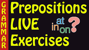 preposition exercises with answers on in at prepositions of time