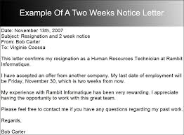 2 week notice letter example template design