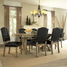 dining room rustic 5 piece dining set with wooden table with rustic 5 piece dining set with wooden table with rustic design and black leather chair with tufted back and wooden legs on beige carpet