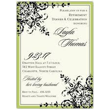 retirement invitations black green ornamental pattern retirement invitations paperstyle