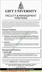 gift university gujranwala jobs on 16 july 2017 paperpk com