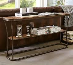 Metal And Wood Sofa Table by Bartlett Reclaimed Wood Console Table Pottery Barn