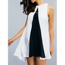 high low color block dress cheap casual style online free shipping