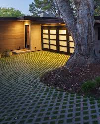 backyard driveway landscape midcentury with driveway solar outdoor