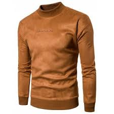 brown mock neck solid color sweatshirt m 28 61 online shopping
