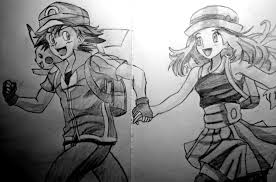 drawing ash serena and pikachu pokemon go moments pinterest