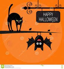 cat arch back on tree branch cute hanging bat happy halloween