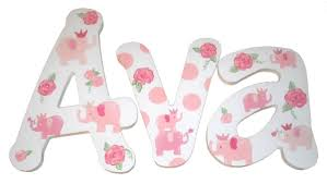 pink elephant wooden name letters