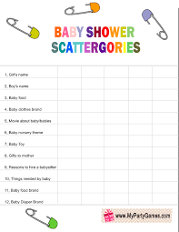 list of baby shower free printable baby shower scattergories for boy and girl