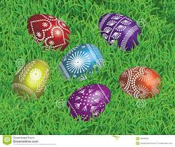 decorated easter eggs on the bed of grass stock vector image