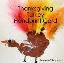 the of a boy thanksgiving turkey handprint card craft for