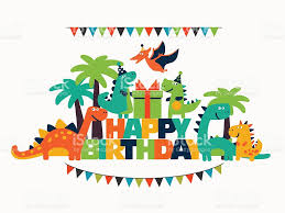 happy birthday lovely vector card with funny dinosaurs stock