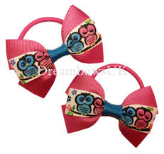 thick ribbon pink owl desigin grosgrain ribbon hair bows on thick bobbles