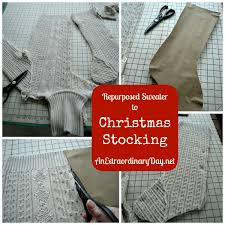 Christmas Stocking Decorations From Sweater To Christmas Stocking In 12 Easy Steps An