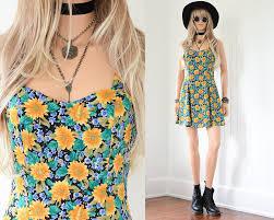 90s dress 90s floral dress 90s grunge sunflower dress floral mini dress