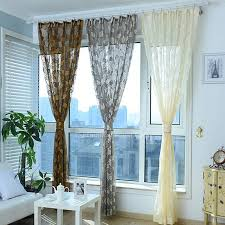 Patterned Sheer Curtains Gray Sheer Curtain Patterned With Leaves For Living Room