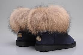 womens ugg boots fox fur style ugg 5854 fox fur boots mini boots navy blue