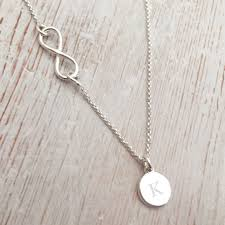 infinity necklace silver images Silver infinity necklace with initial disc jpg