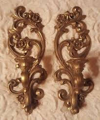 wall sconce candelabra 3 candle home interior vintage ebay set of 3 vintage gold syroco homco dart wall mirror candle sconces