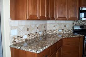 Mosaic Tile Backsplash Kitchen Kitchen Wooden Kitchen Cabinets Granite Countertops Mosaic Tile
