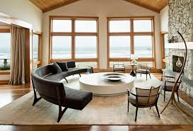 Half Round Accent Table Living Room Contemporary With Large Window