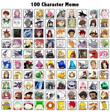 All Memes With Names - my top 100 characters over all meme by whosaskin on deviantart