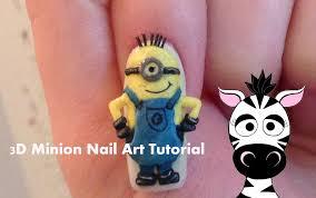3d minions nail art tutorial youtube