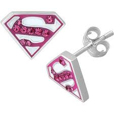 superman earrings dc comics supergirl sterling silver superman logo pink
