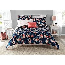 Teen Floral Bedding Amazon Com 6 Piece Navy Blue Pink Garden Flowers Theme Comforter