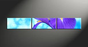 3 piece canvas purple lily floral art