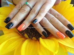 acrylic nails with black gelish gel polish bright orange gelish