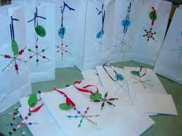 christmas art crafts for kids beaded snowflake gift bags saving