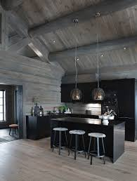 black kitchen cabinets in log cabin modern open plan kitchen with black buy image