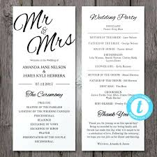 wedding programs printable template template wedding program