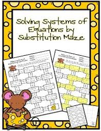 solving systems of equations by substitution maze by ayers u0027 math