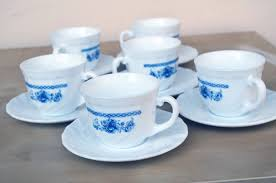 Porcelain Coffee Mugs by Arcopal France Porcelain Coffee Mugs Floral White And Blue