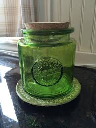 Bathroom Jars With Lids Lime Green Glass Jar With Cork Lid Kitchen Storage Bathroom